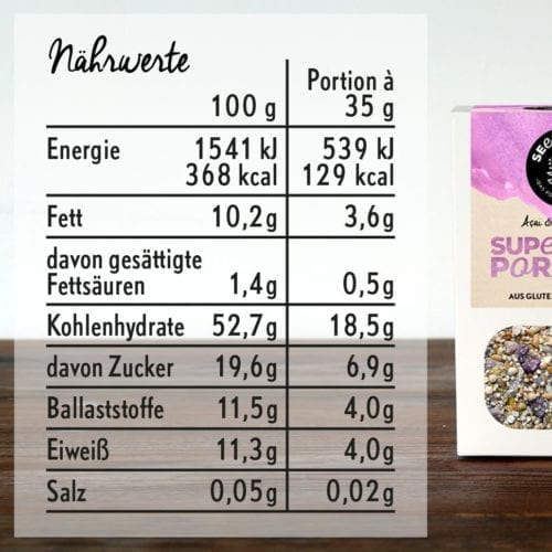 Nährwerte - Superfood Porridge Acai and Wild Berry
